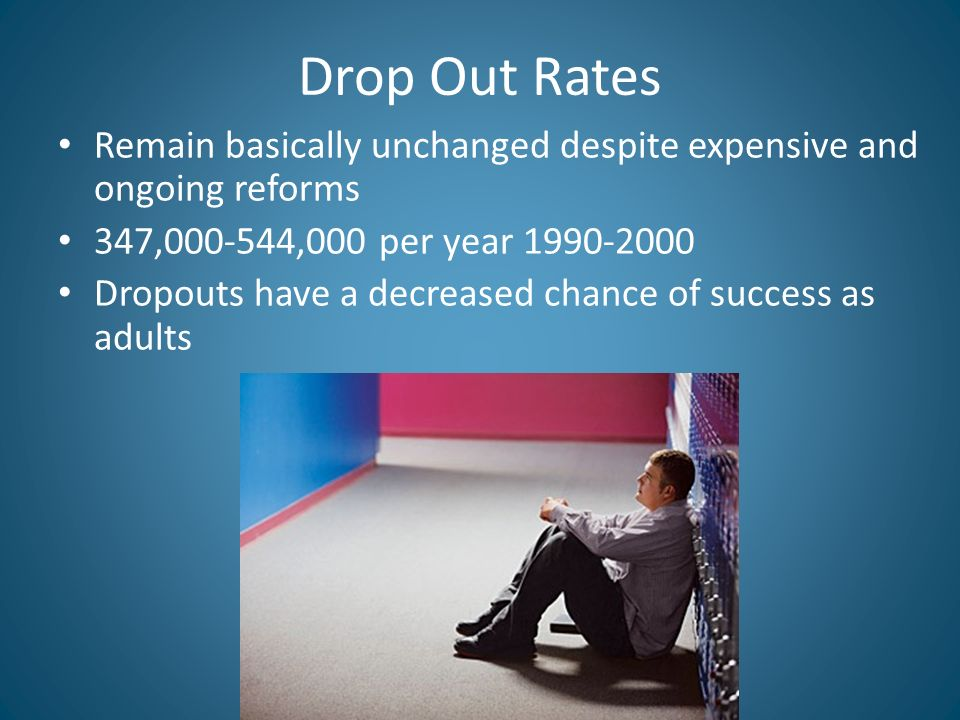 Drop Out Rates Remain basically unchanged despite expensive and ongoing reforms 347, ,000 per year Dropouts have a decreased chance of success as adults