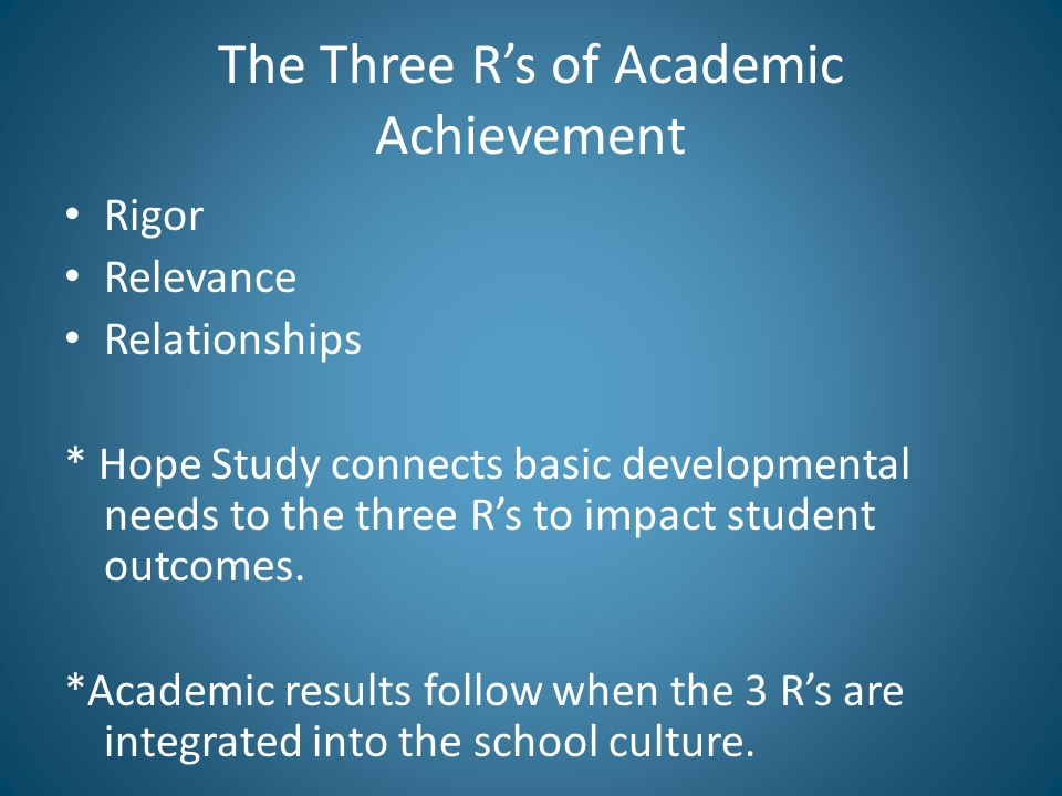 The Three Rs of Academic Achievement Rigor Relevance Relationships * Hope Study connects basic developmental needs to the three Rs to impact student outcomes.