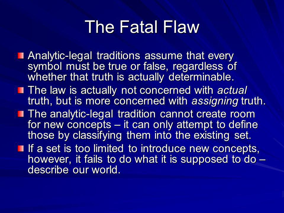 The Fatal Flaw Analytic-legal traditions assume that every symbol must be true or false, regardless of whether that truth is actually determinable.
