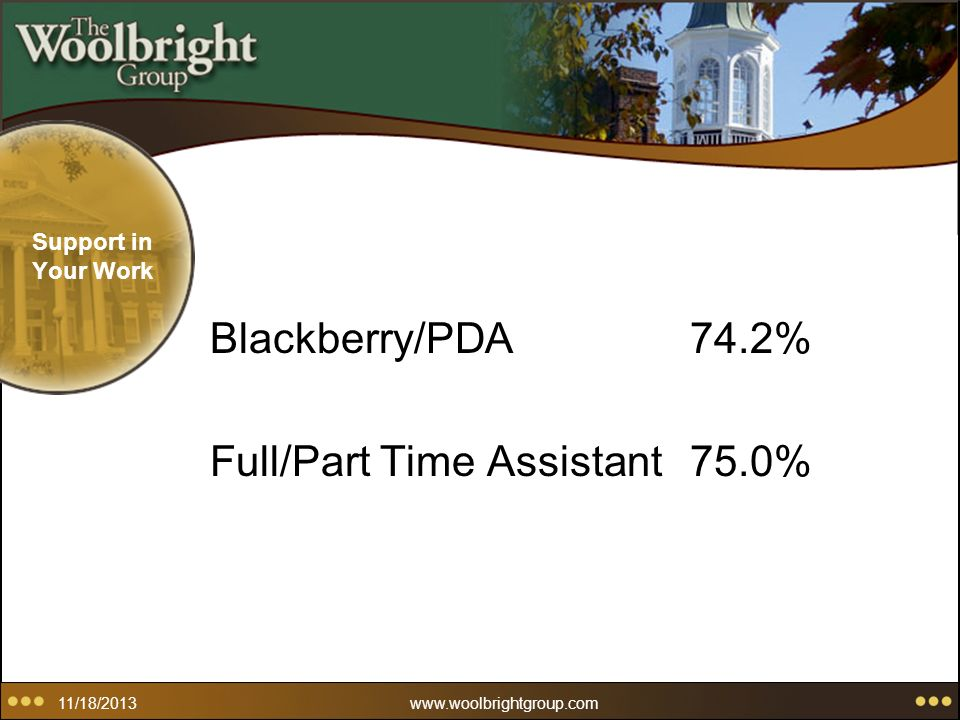 11/18/2013www.woolbrightgroup.com Support in Your Work Blackberry/PDA74.2% Full/Part Time Assistant75.0%