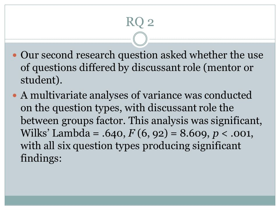 RQ 2 Our second research question asked whether the use of questions differed by discussant role (mentor or student).