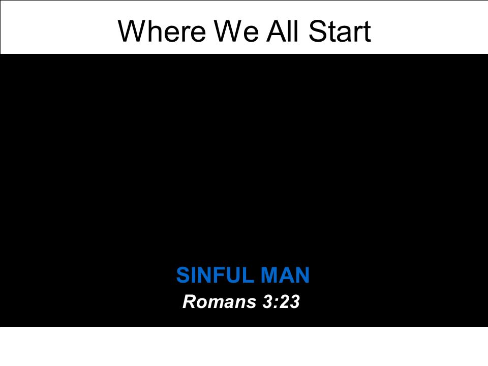 Where We All Start SINFUL MAN Romans 3:23