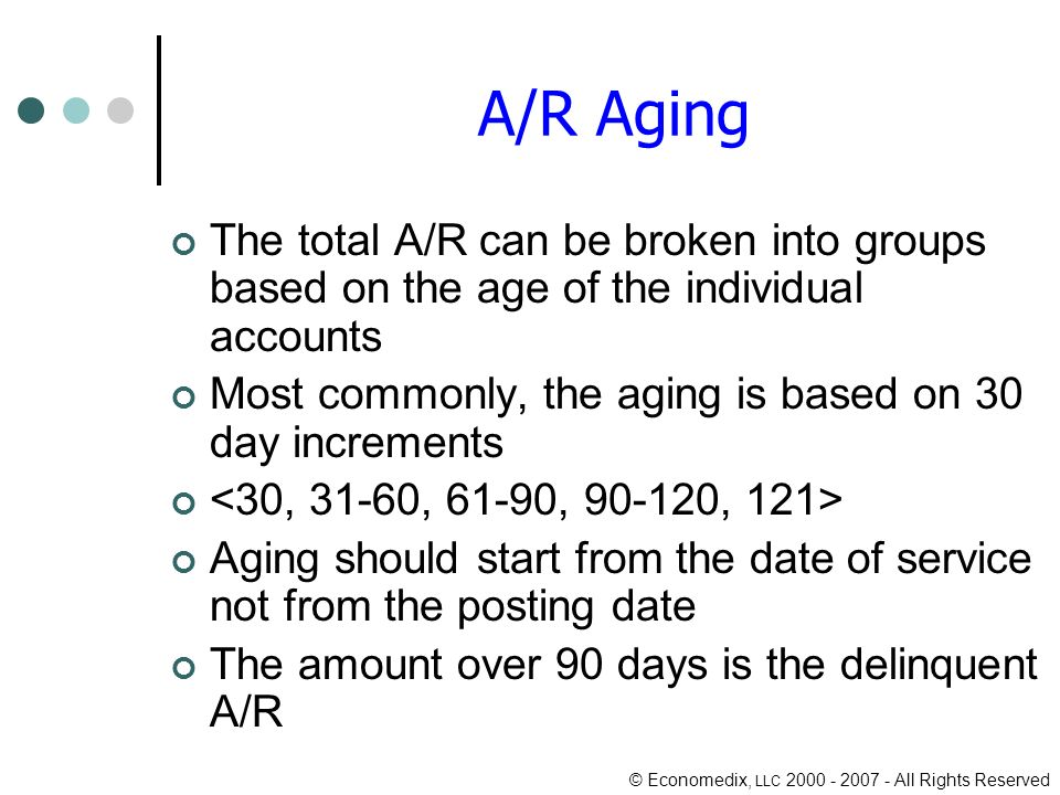 © Economedix, LLC All Rights Reserved A/R Aging The total A/R can be broken into groups based on the age of the individual accounts Most commonly, the aging is based on 30 day increments Aging should start from the date of service not from the posting date The amount over 90 days is the delinquent A/R