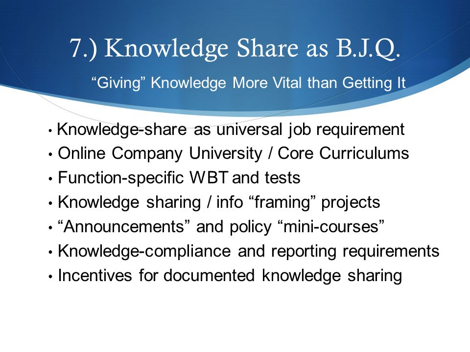 7.) Knowledge Share as B.J.Q.
