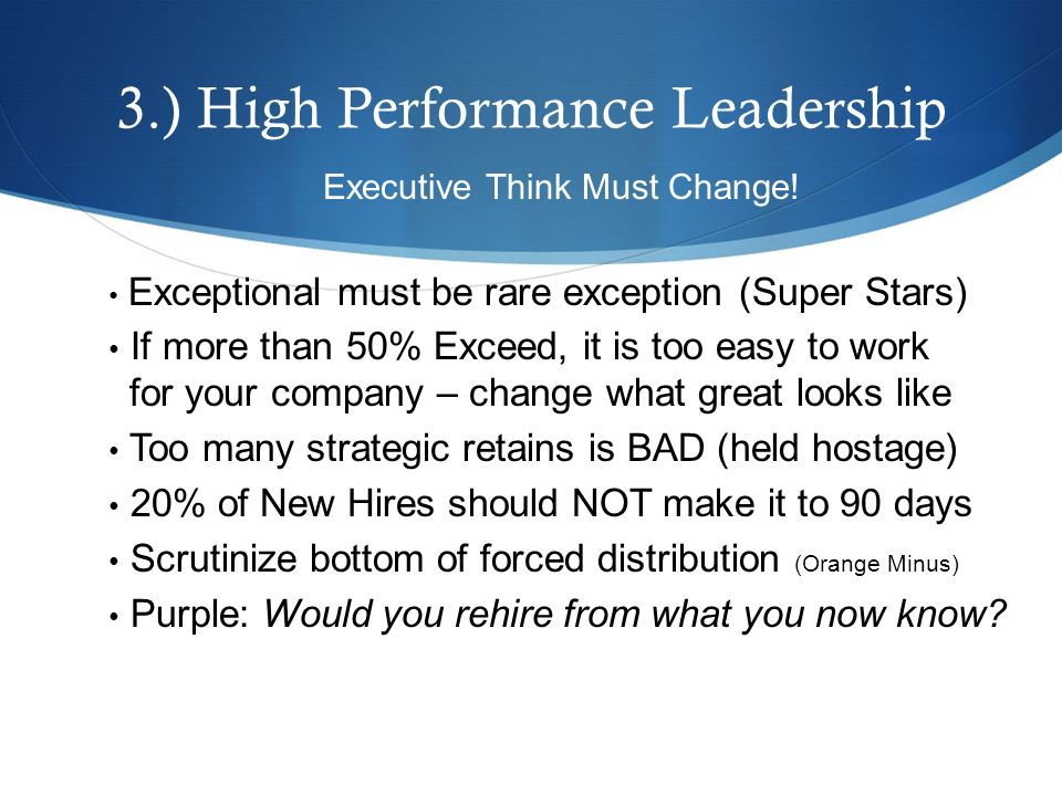3.) High Performance Leadership Executive Think Must Change.