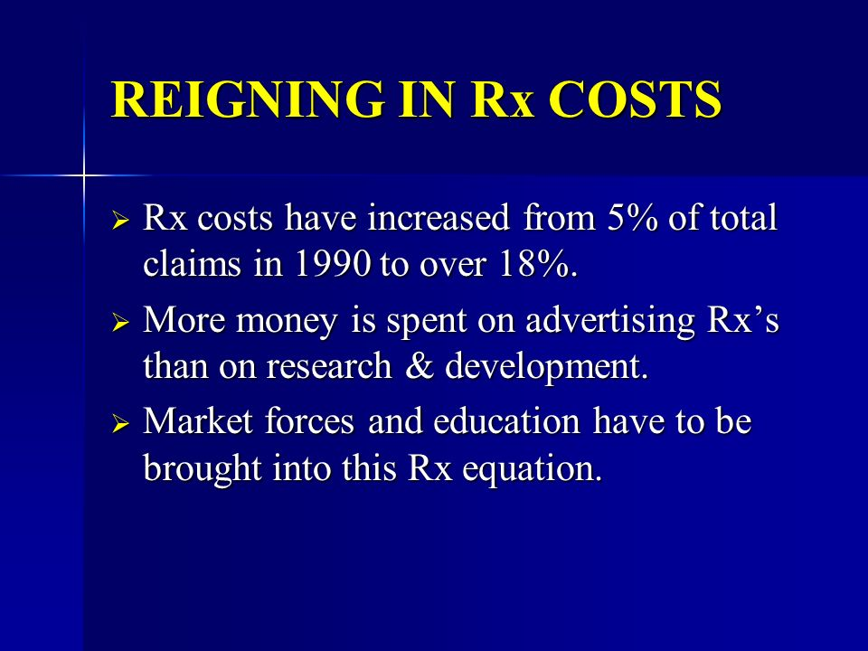 REIGNING IN Rx COSTS Rx costs have increased from 5% of total claims in 1990 to over 18%.
