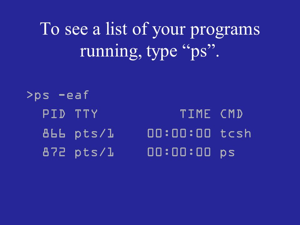 To see a list of your programs running, type ps.