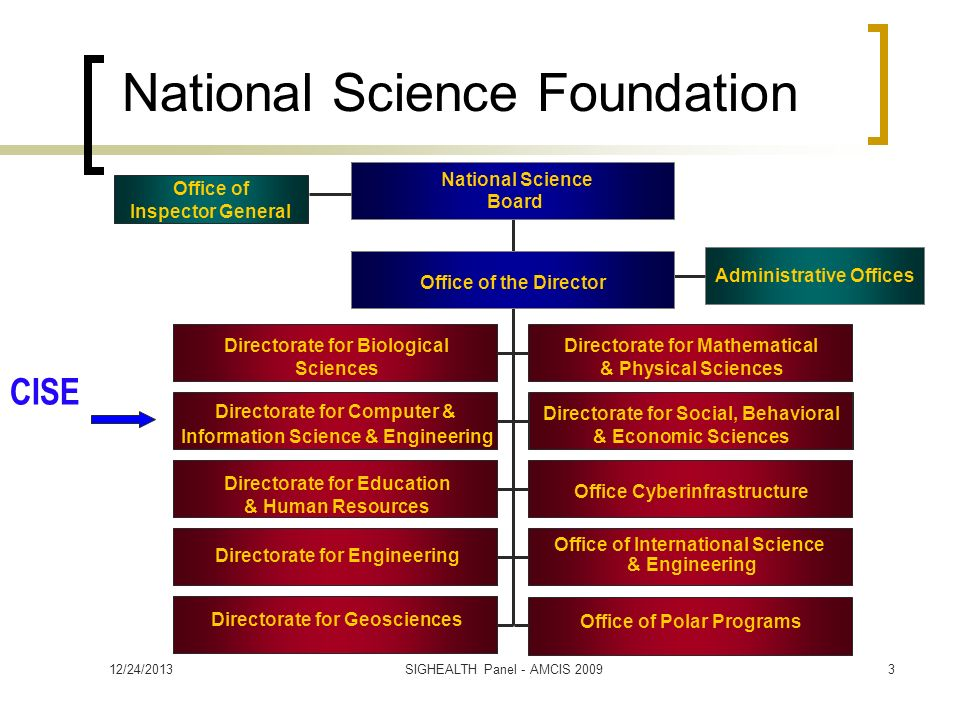 National Science Foundation Administrative Offices Directorate for Biological Sciences Directorate for Mathematical & Physical Sciences Directorate for Computer & Information Science & Engineering Directorate for Social, Behavioral & Economic Sciences Directorate for Education & Human Resources Directorate for Engineering Office of the Director National Science Board Office Cyberinfrastructure Office of Inspector General Office of International Science & Engineering Directorate for Geosciences Office of Polar Programs CISE 12/24/20133SIGHEALTH Panel - AMCIS 2009