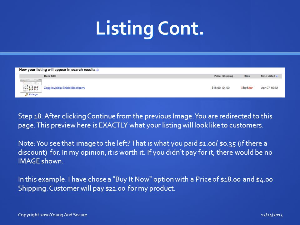 Listing Cont. Step 18: After clicking Continue from the previous Image.
