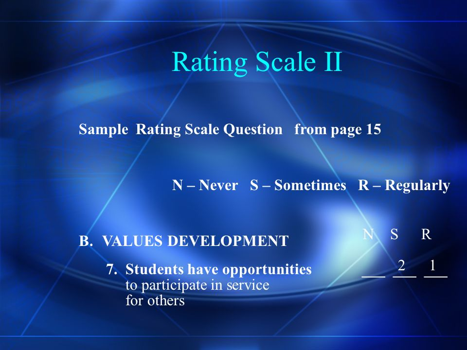 Rating Scale In using the rating scale each committee member votes for the rating which they feel that best describes the present practice at the school not what it should be.