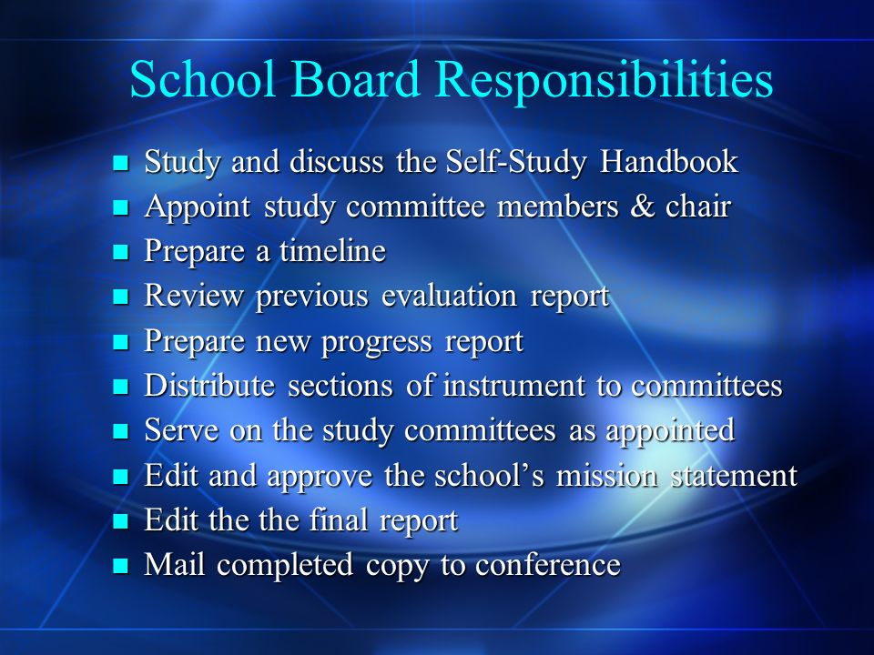 Self- Study Handbook Guidebook to aid in completing the Self- Study Instrument which includes : Guidebook to aid in completing the Self- Study Instrument which includes : Responsibilities Responsibilities The use of rating scales The use of rating scales Possible Outcomes Possible Outcomes Parent Questionnaires Parent Questionnaires