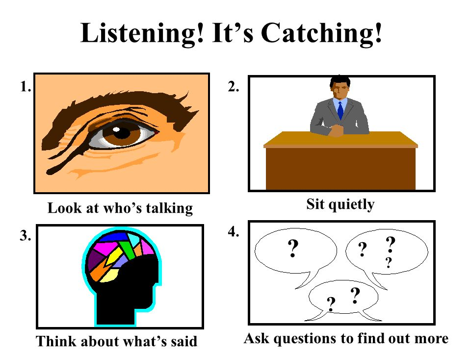 Listening. Its Catching. 1.2. Look at whos talking Sit quietly Think about whats said 3.