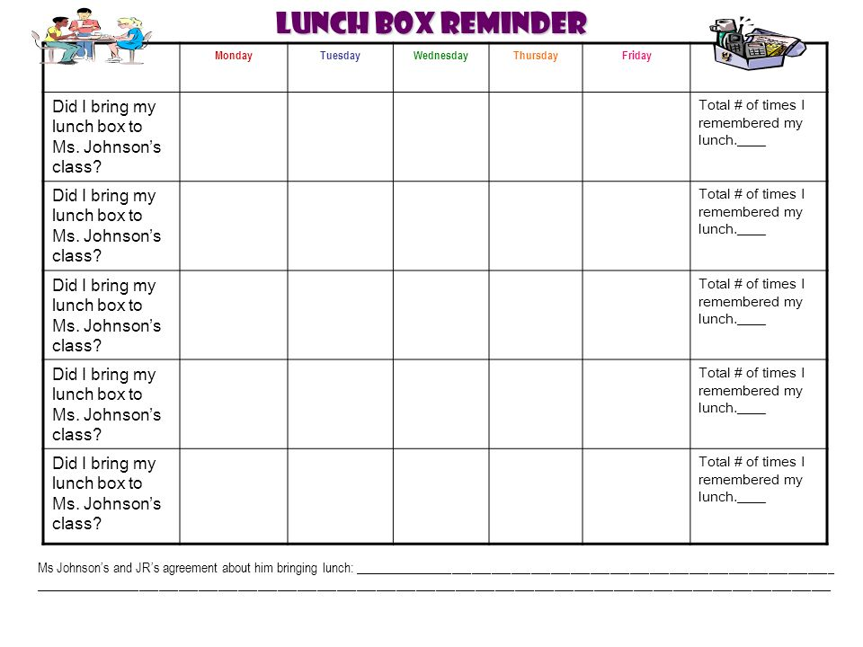 Lunch Box Reminder MondayTuesdayWednesdayThursdayFriday Did I bring my lunch box to Ms.