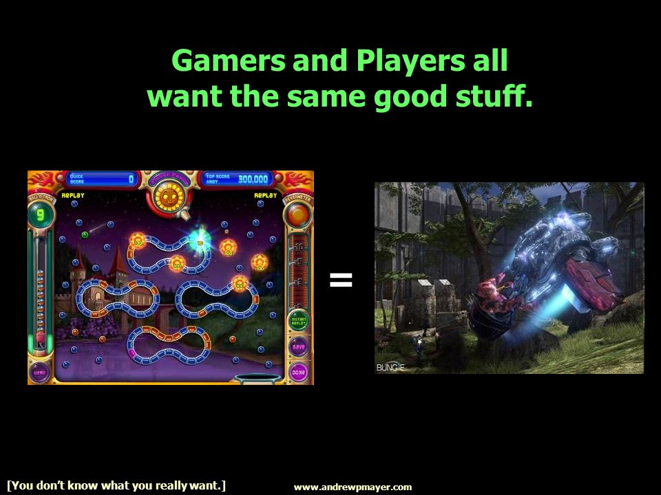 Gamers and Players all want the same good stuff.