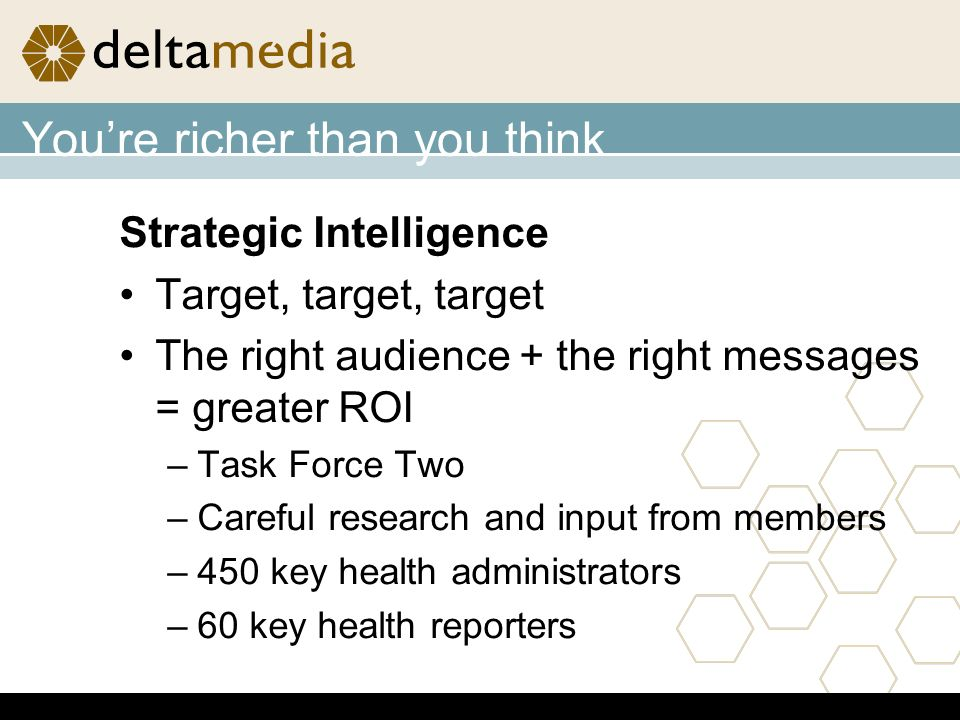 Youre richer than you think Strategic Intelligence Target, target, target The right audience + the right messages = greater ROI –Task Force Two –Careful research and input from members –450 key health administrators –60 key health reporters