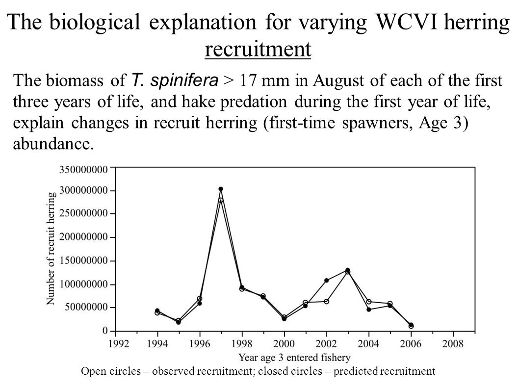 The biological explanation for varying WCVI herring recruitment The biomass of T.