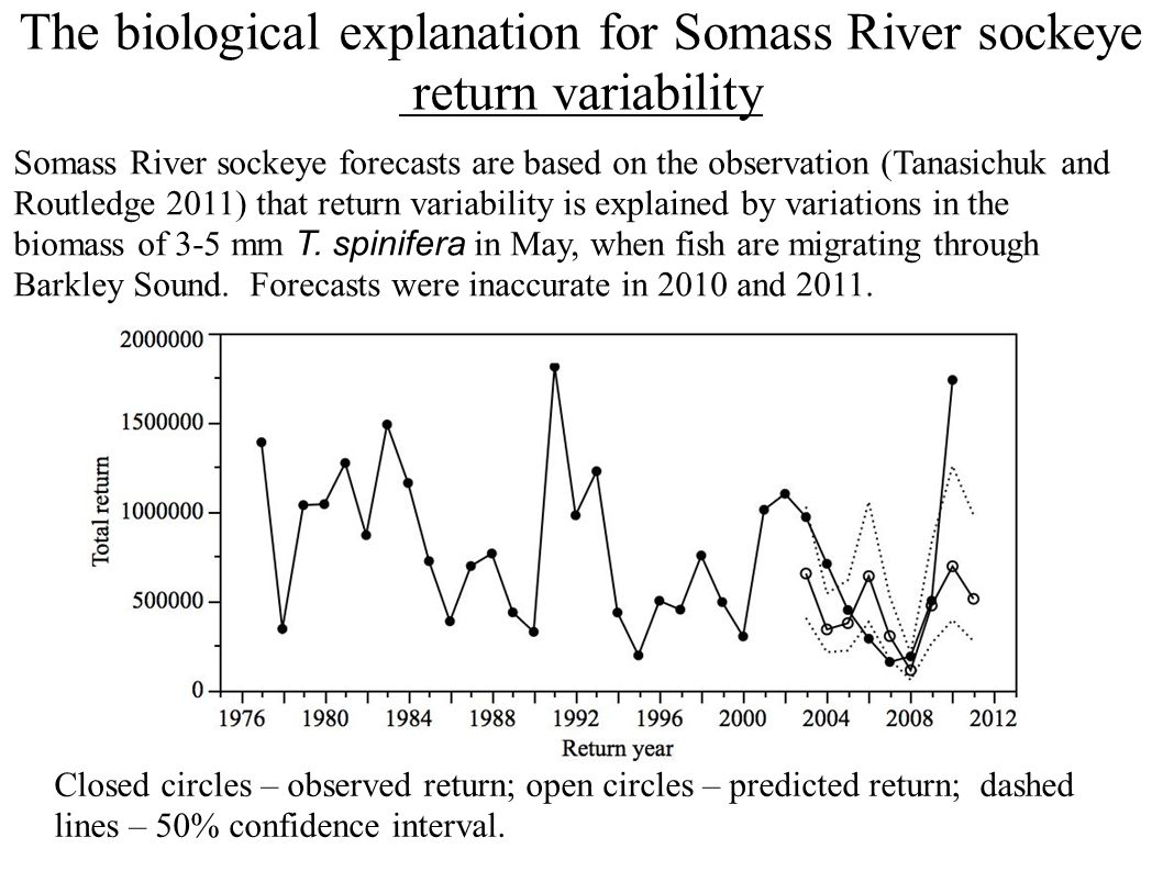 The biological explanation for Somass River sockeye return variability Closed circles – observed return; open circles – predicted return; dashed lines – 50% confidence interval.
