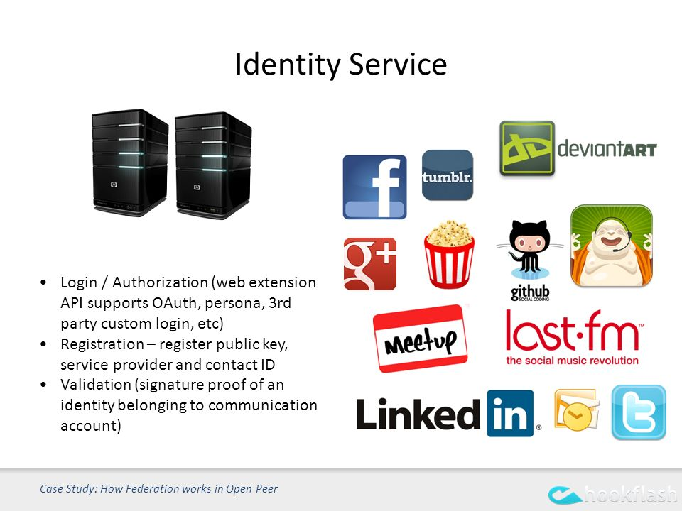 Identity Service Case Study: How Federation works in Open Peer Login / Authorization (web extension API supports OAuth, persona, 3rd party custom login, etc) Registration – register public key, service provider and contact ID Validation (signature proof of an identity belonging to communication account)
