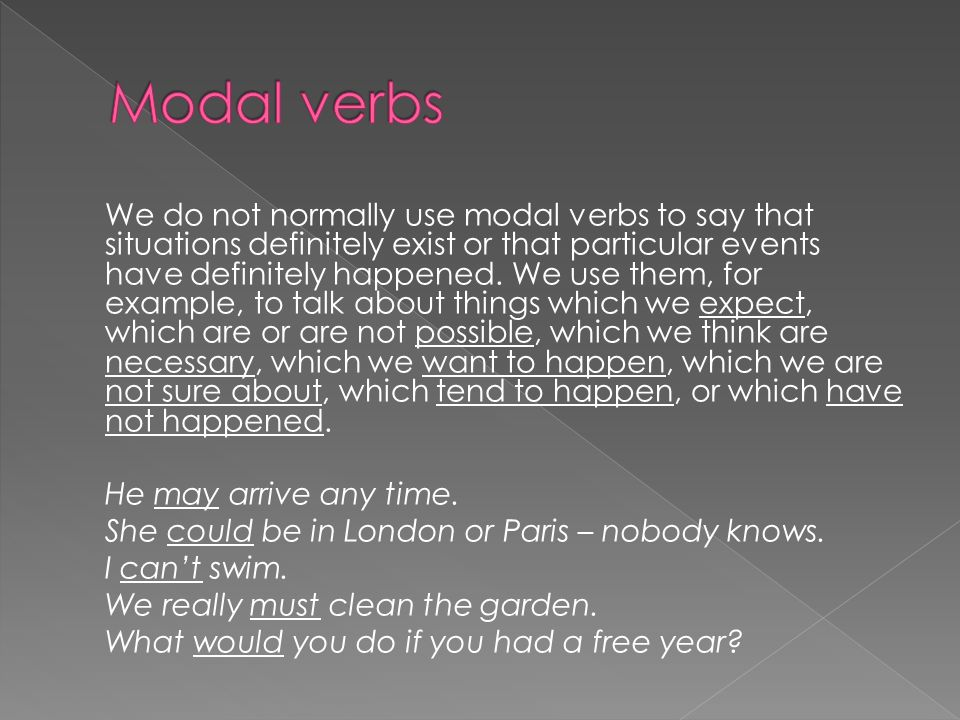 We do not normally use modal verbs to say that situations definitely exist or that particular events have definitely happened.