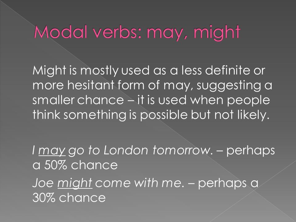 Might is mostly used as a less definite or more hesitant form of may, suggesting a smaller chance – it is used when people think something is possible but not likely.