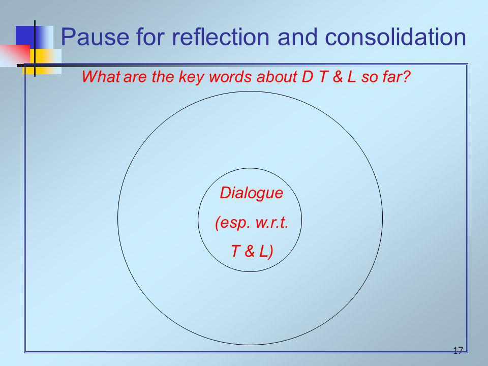 17 Dialogue (esp. w.r.t. T & L) What are the key words about D T & L so far.