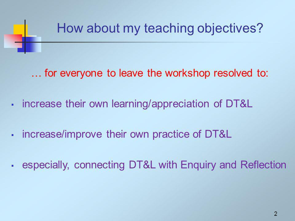 How about my teaching objectives.