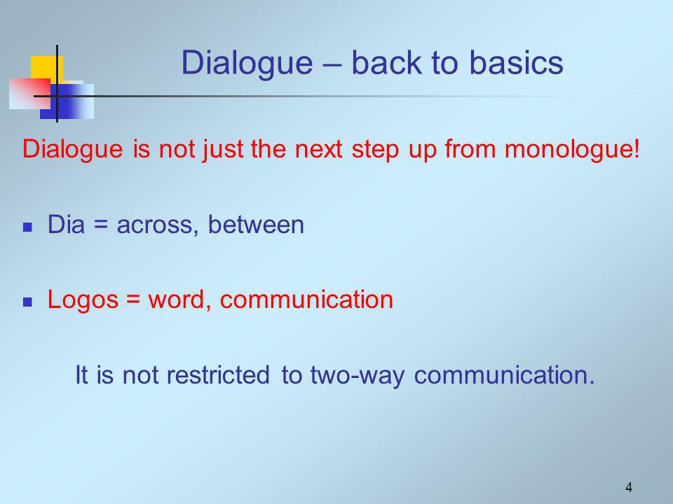 4 Dialogue is not just the next step up from monologue.