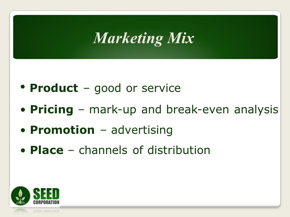 Product – good or service Pricing – mark-up and break-even analysis Promotion – advertising Place – channels of distribution Marketing Mix