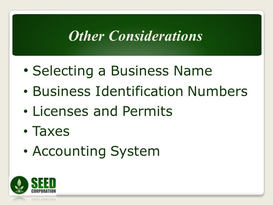 Selecting a Business Name Business Identification Numbers Licenses and Permits Taxes Accounting System Other Considerations
