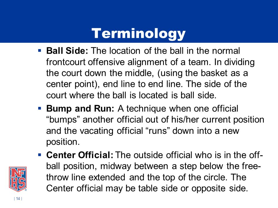 | 14 | Terminology Ball Side: The location of the ball in the normal frontcourt offensive alignment of a team.