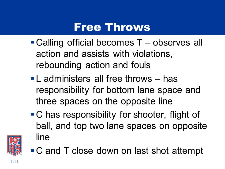 | 33 | Free Throws Calling official becomes T – observes all action and assists with violations, rebounding action and fouls L administers all free throws – has responsibility for bottom lane space and three spaces on the opposite line C has responsibility for shooter, flight of ball, and top two lane spaces on opposite line C and T close down on last shot attempt