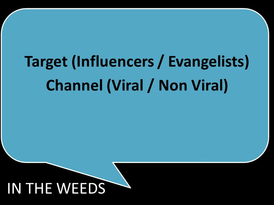 Target (Influencers / Evangelists) Channel (Viral / Non Viral) IN THE WEEDS