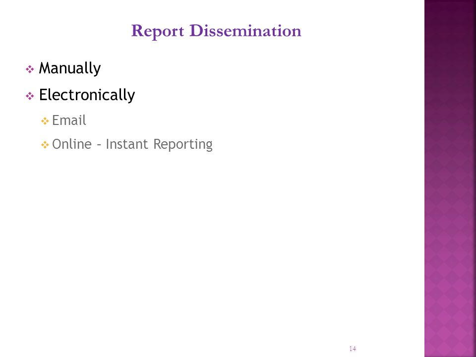 14 Report Dissemination Manually Electronically  Online – Instant Reporting