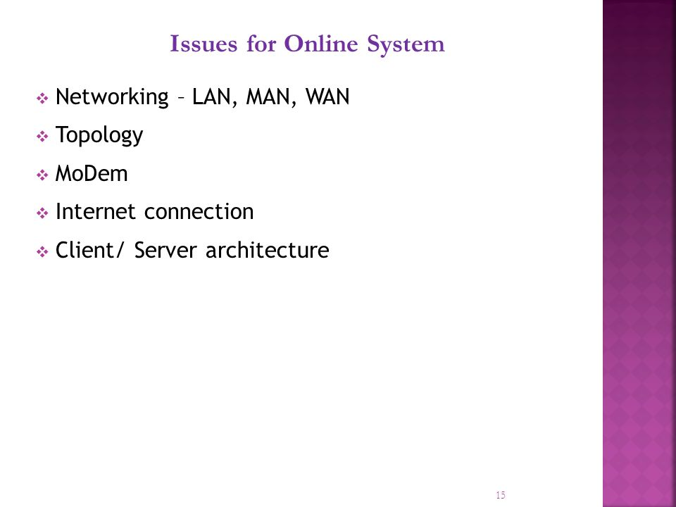 15 Issues for Online System Networking – LAN, MAN, WAN Topology MoDem Internet connection Client/ Server architecture