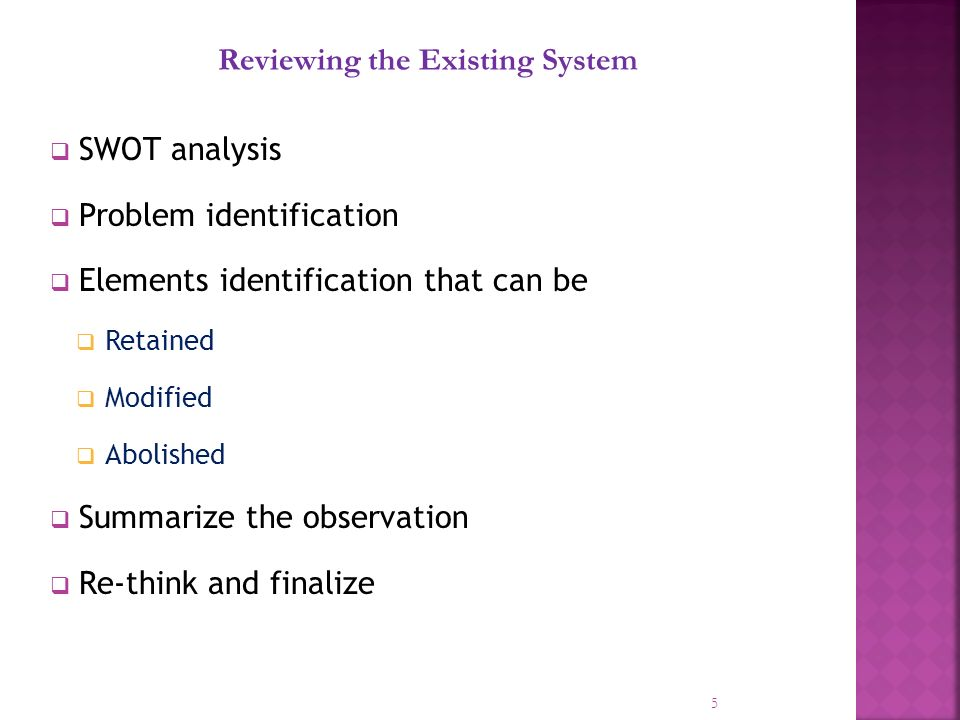 SWOT analysis Problem identification Elements identification that can be Retained Modified Abolished Summarize the observation Re-think and finalize 5 Reviewing the Existing System