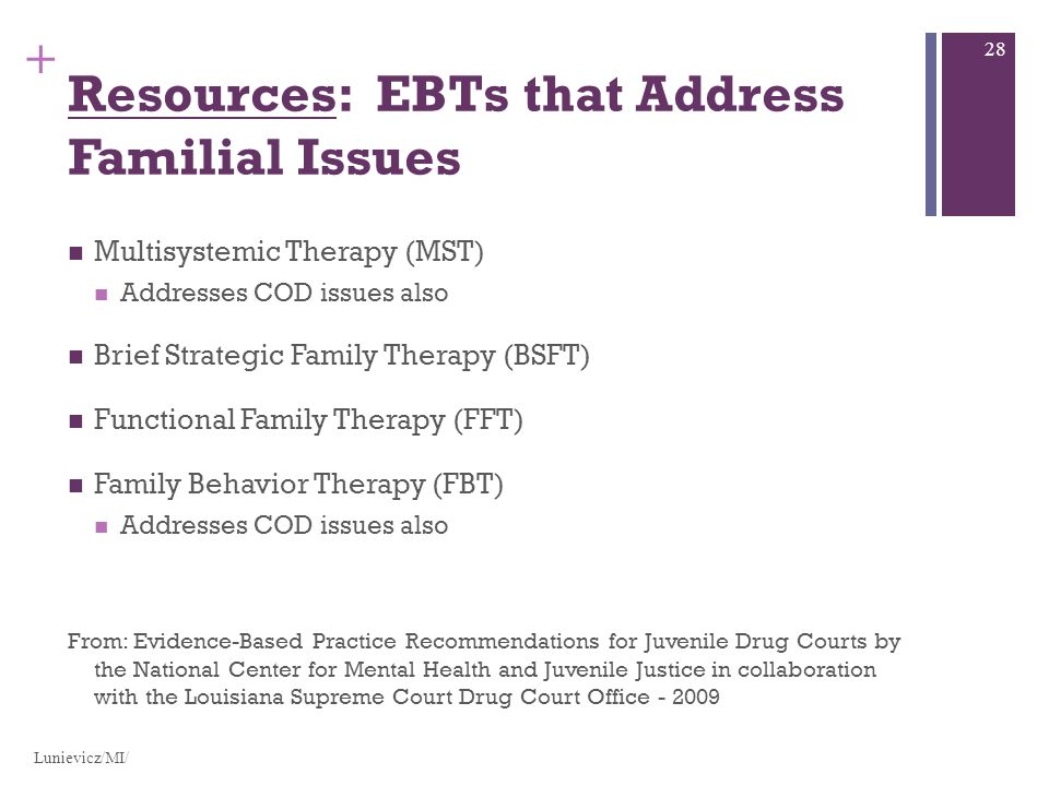 + Resources: EBTs that Address Familial Issues Multisystemic Therapy (MST) Addresses COD issues also Brief Strategic Family Therapy (BSFT) Functional Family Therapy (FFT) Family Behavior Therapy (FBT) Addresses COD issues also From: Evidence-Based Practice Recommendations for Juvenile Drug Courts by the National Center for Mental Health and Juvenile Justice in collaboration with the Louisiana Supreme Court Drug Court Office - 2009 Lunievicz/MI/ 28