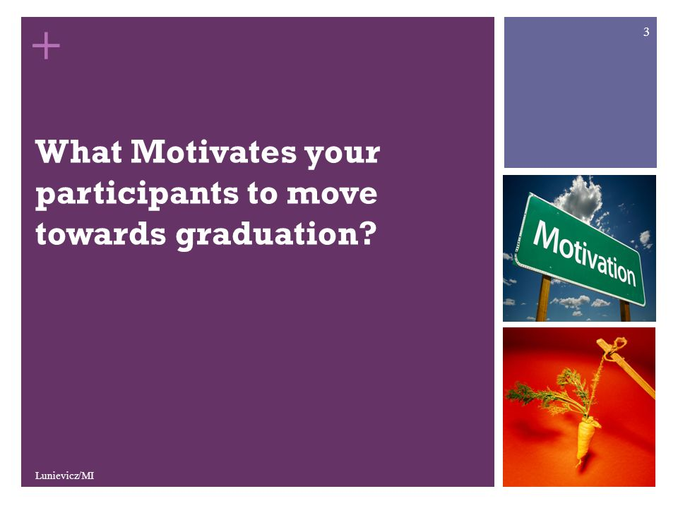 + What Motivates your participants to move towards graduation Lunievicz/MI 3