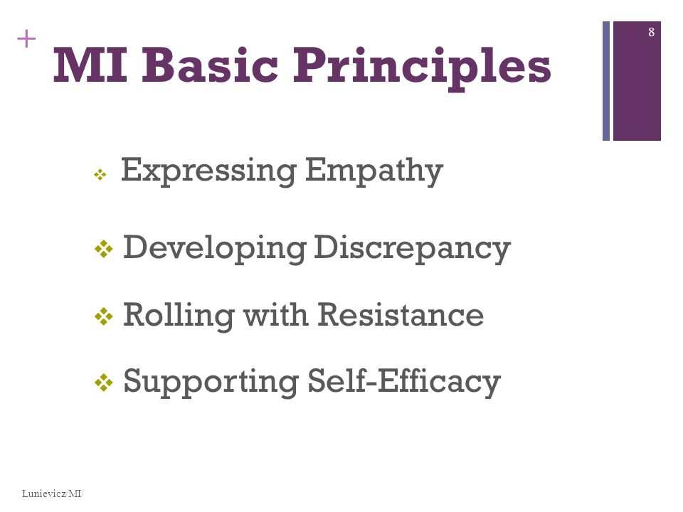 + MI Basic Principles Expressing Empathy Developing Discrepancy Rolling with Resistance Supporting Self-Efficacy Lunievicz/MI/ 8
