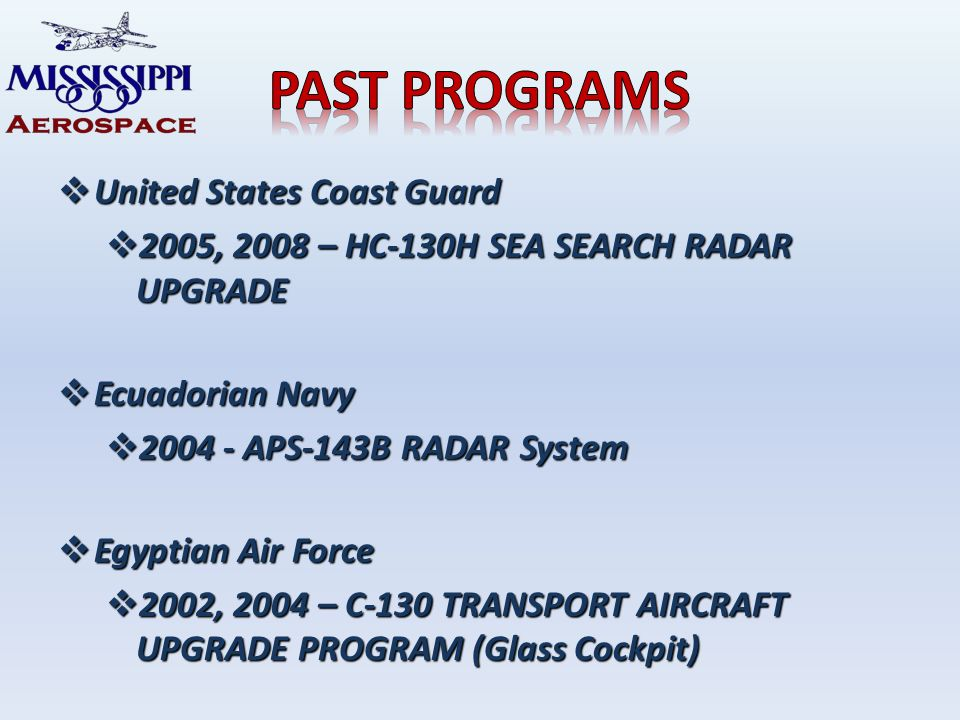 United States Coast Guard United States Coast Guard 2005, 2008 – HC-130H SEA SEARCH RADAR UPGRADE 2005, 2008 – HC-130H SEA SEARCH RADAR UPGRADE Ecuadorian Navy Ecuadorian Navy APS-143B RADAR System APS-143B RADAR System Egyptian Air Force Egyptian Air Force 2002, 2004 – C-130 TRANSPORT AIRCRAFT UPGRADE PROGRAM (Glass Cockpit) 2002, 2004 – C-130 TRANSPORT AIRCRAFT UPGRADE PROGRAM (Glass Cockpit)