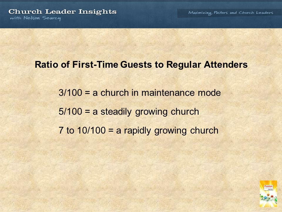 Ratio of First-Time Guests to Regular Attenders 3/100 = a church in maintenance mode 5/100 = a steadily growing church 7 to 10/100 = a rapidly growing church