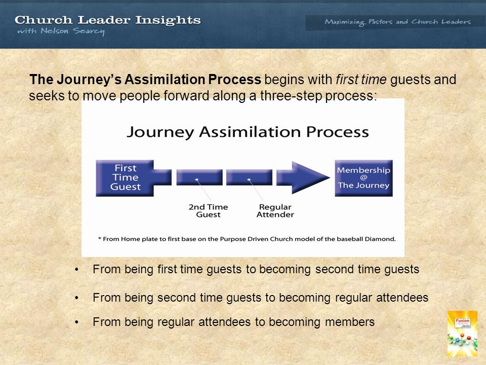 The Journeys Assimilation Process begins with first time guests and seeks to move people forward along a three-step process: From being first time guests to becoming second time guests From being second time guests to becoming regular attendees From being regular attendees to becoming members