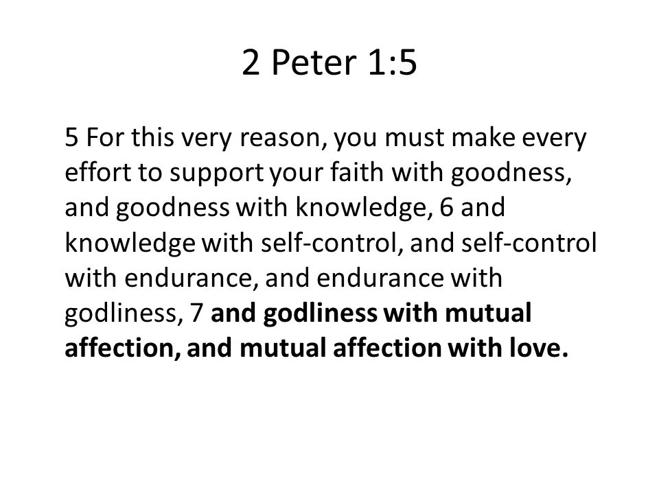 2 Peter 1:5 5 For this very reason, you must make every effort to support your faith with goodness, and goodness with knowledge, 6 and knowledge with self-control, and self-control with endurance, and endurance with godliness, 7 and godliness with mutual affection, and mutual affection with love.