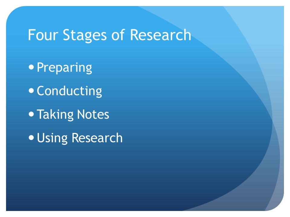 Four Stages of Research Preparing Conducting Taking Notes Using Research