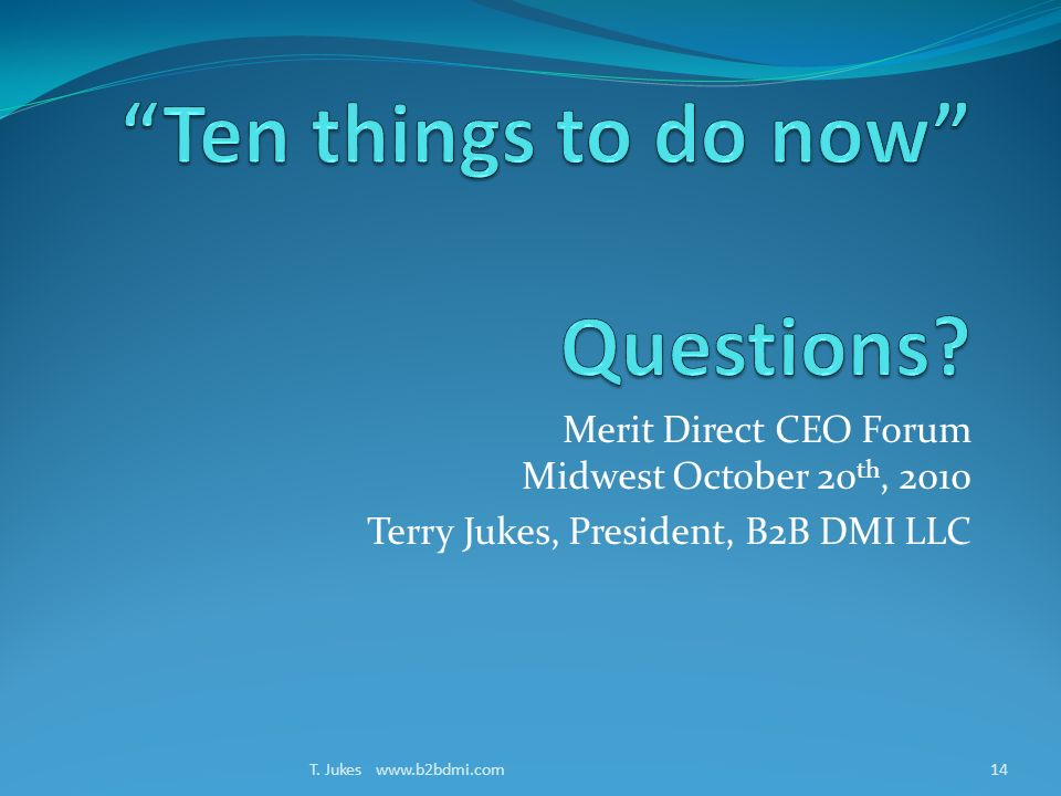 Merit Direct CEO Forum Midwest October 20 th, 2010 Terry Jukes, President, B2B DMI LLC T.