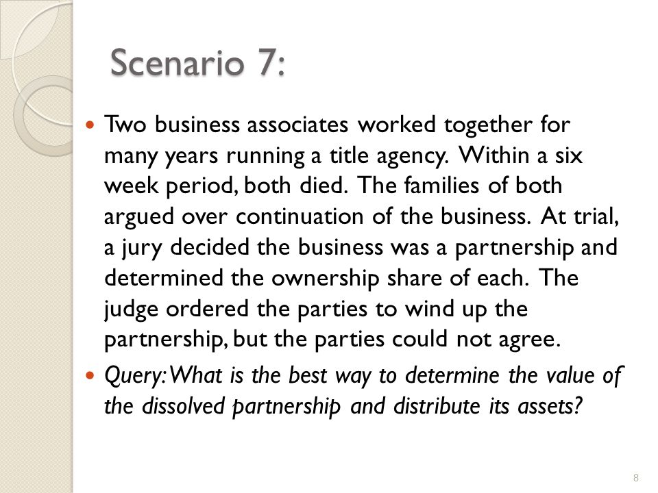 Scenario 7: Two business associates worked together for many years running a title agency.