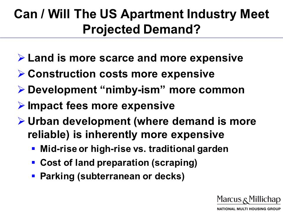 Can / Will The US Apartment Industry Meet Projected Demand.