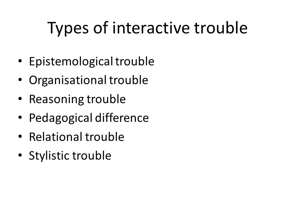 Types of interactive trouble Epistemological trouble Organisational trouble Reasoning trouble Pedagogical difference Relational trouble Stylistic trouble