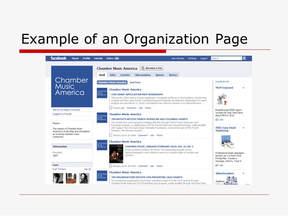 Example of an Organization Page