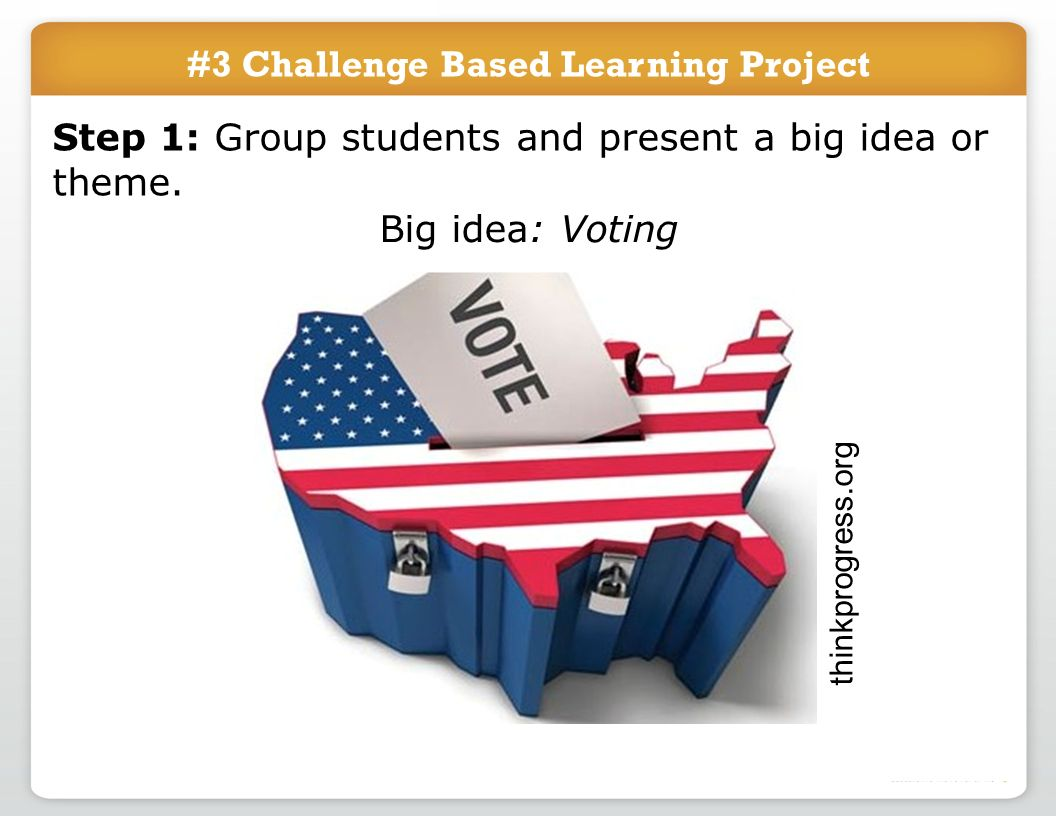 #3 Challenge Based Learning Project Big idea: Voting Step 1: Group students and present a big idea or theme.