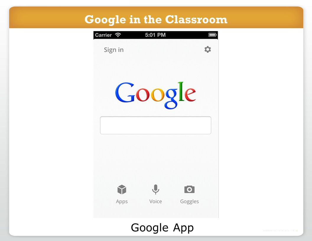 Google in the Classroom Google App Google in the Classroom